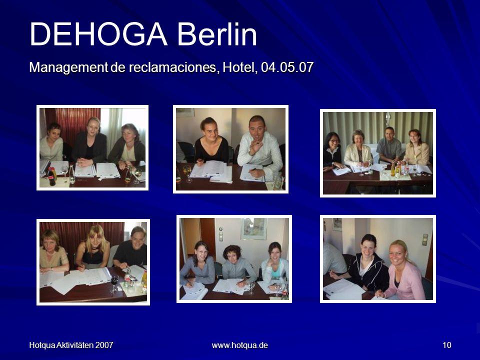 DEHOGA Berlin Management de reclamaciones, Hotel, 04.05.07