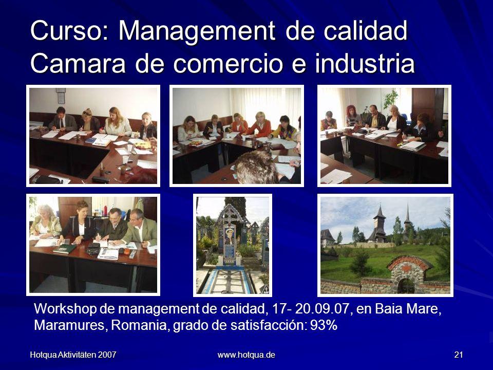 Curso: Management de calidad Camara de comercio e industria