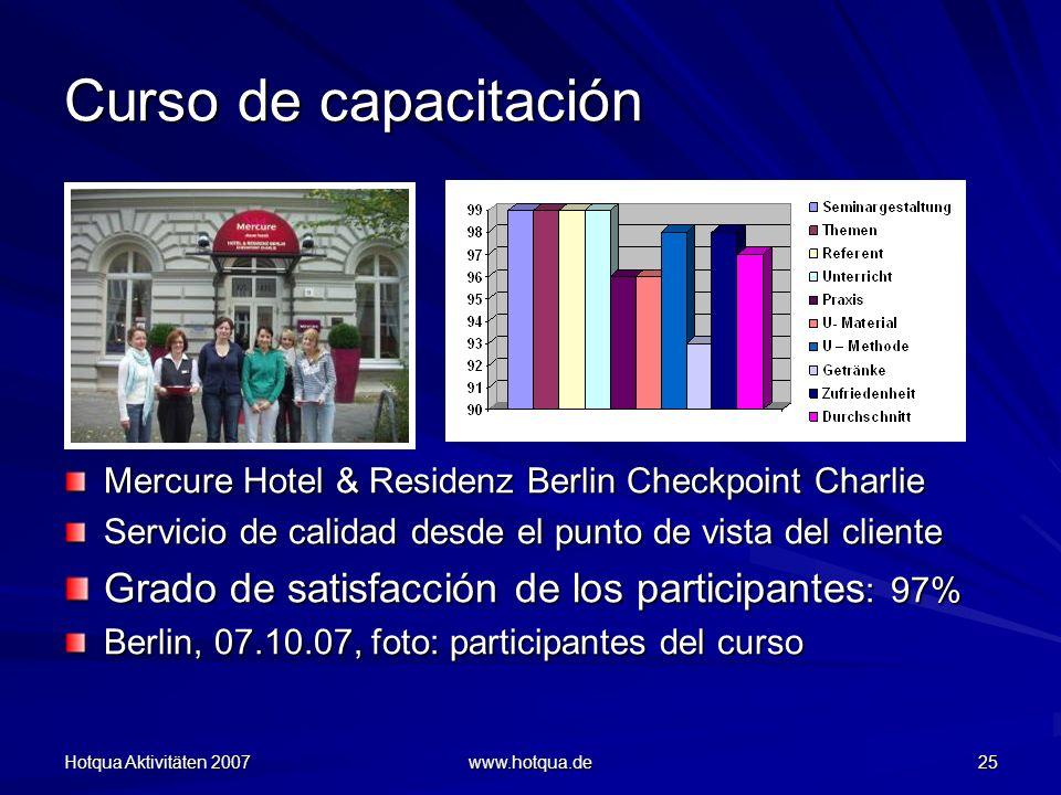 Curso de capacitación Grado de satisfacción de los participantes: 97%