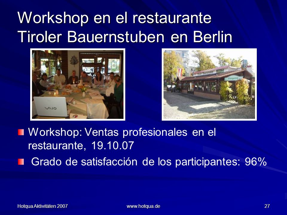Workshop en el restaurante Tiroler Bauernstuben en Berlin