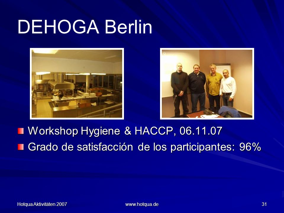 DEHOGA Berlin Workshop Hygiene & HACCP, 06.11.07