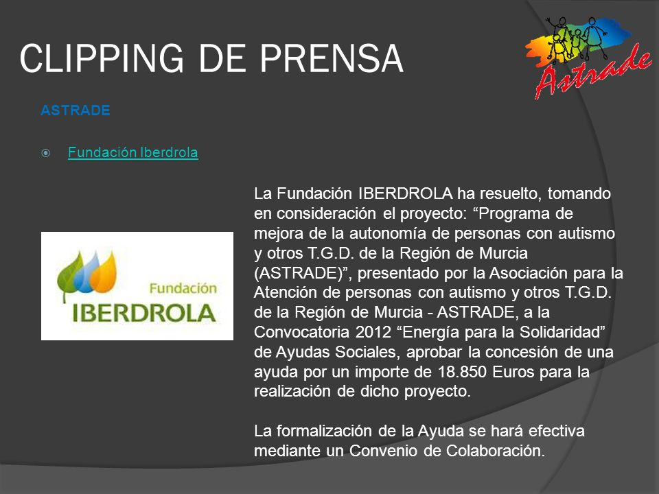 CLIPPING DE PRENSA ASTRADE. Fundación Iberdrola.