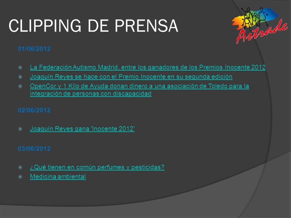 CLIPPING DE PRENSA 01/06/2012. La Federación Autismo Madrid, entre los ganadores de los Premios Inocente 2012.