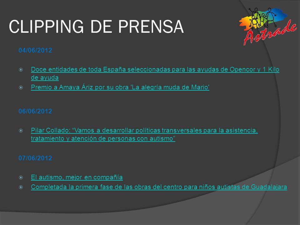 CLIPPING DE PRENSA 04/06/2012. Doce entidades de toda España seleccionadas para las ayudas de Opencor y 1 Kilo de ayuda.