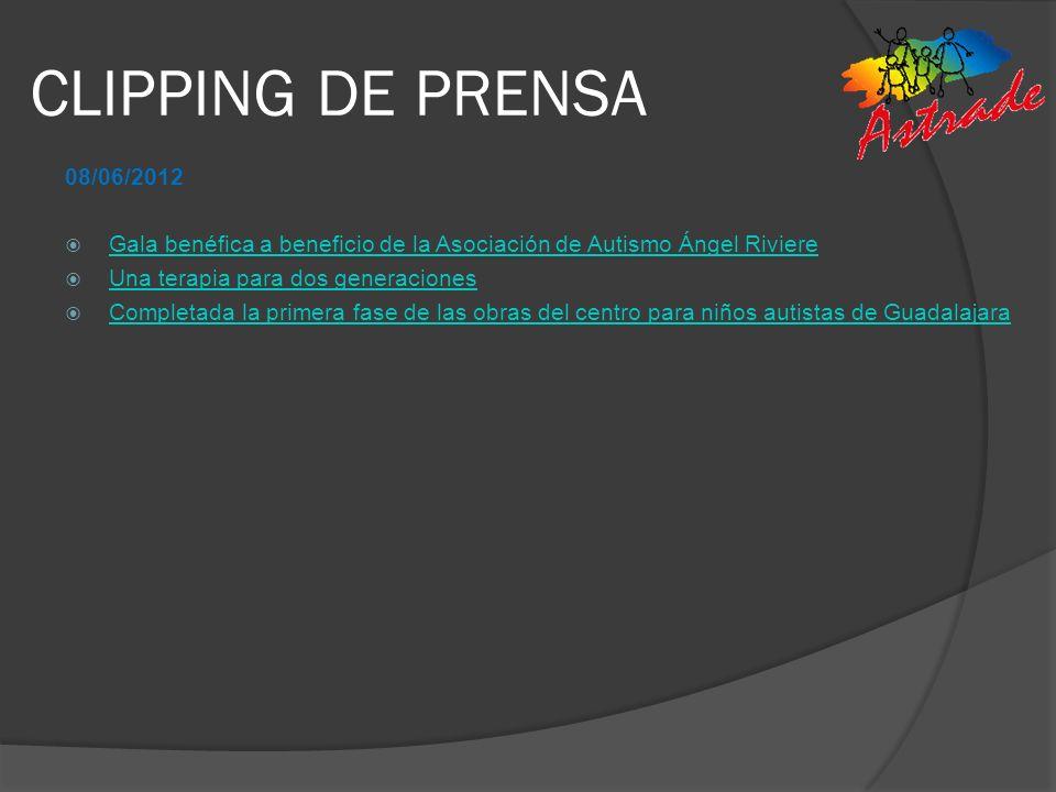 CLIPPING DE PRENSA 08/06/2012. Gala benéfica a beneficio de la Asociación de Autismo Ángel Riviere.