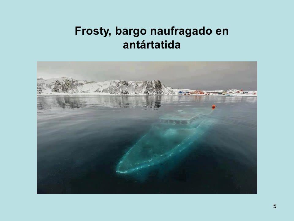 Frosty, bargo naufragado en antártatida