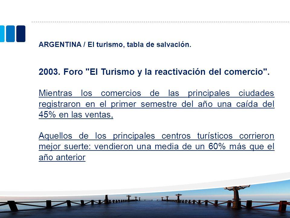 2003. Foro El Turismo y la reactivación del comercio .