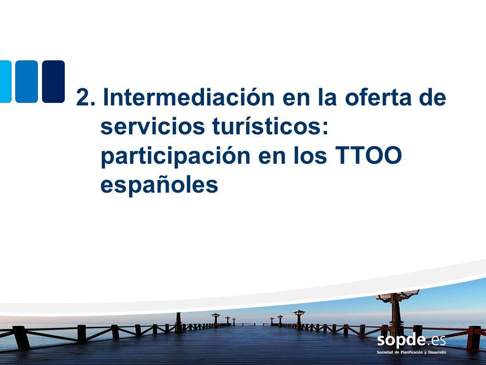 2. Intermediación en la oferta de servicios turísticos: participación en los TTOO españoles