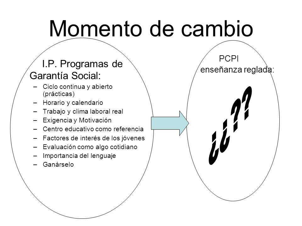 Momento de cambio I.P. Programas de Garantía Social: ¿¿ PCPI