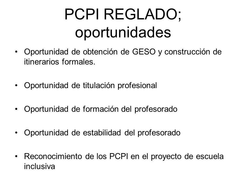 PCPI REGLADO; oportunidades
