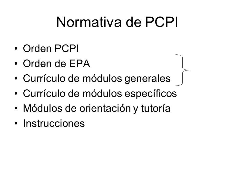 Normativa de PCPI Orden PCPI Orden de EPA