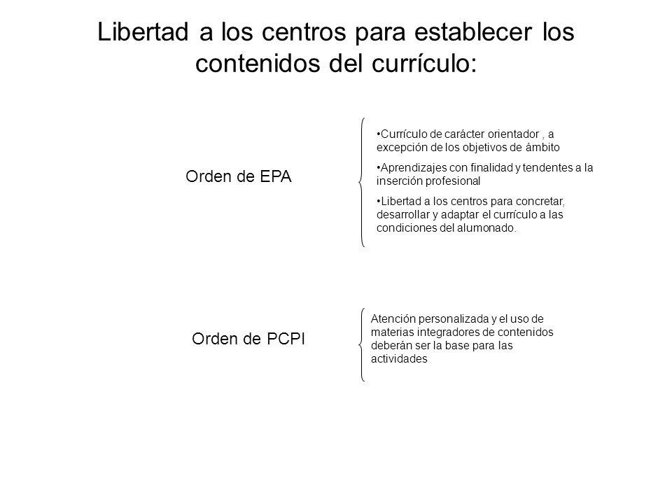 Libertad a los centros para establecer los contenidos del currículo: