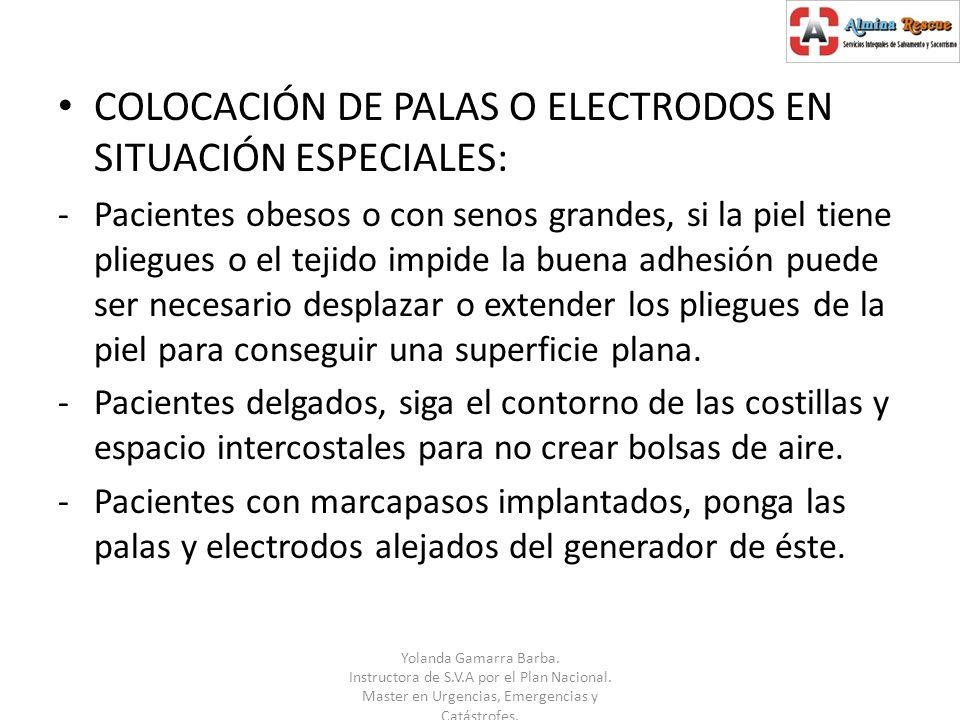 COLOCACIÓN DE PALAS O ELECTRODOS EN SITUACIÓN ESPECIALES: