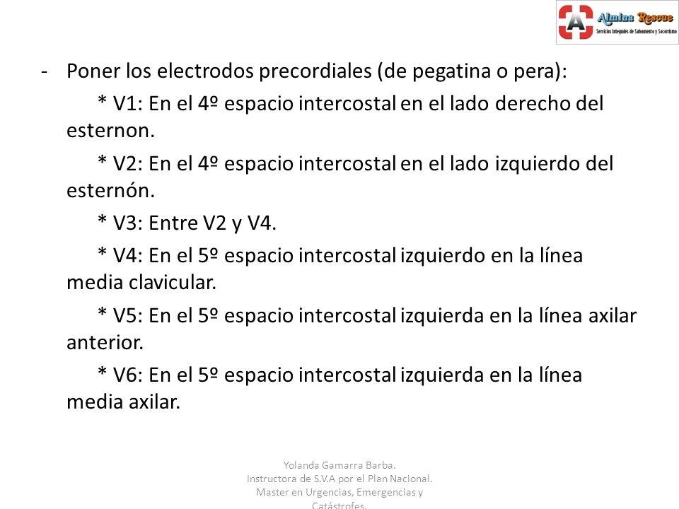 Poner los electrodos precordiales (de pegatina o pera):