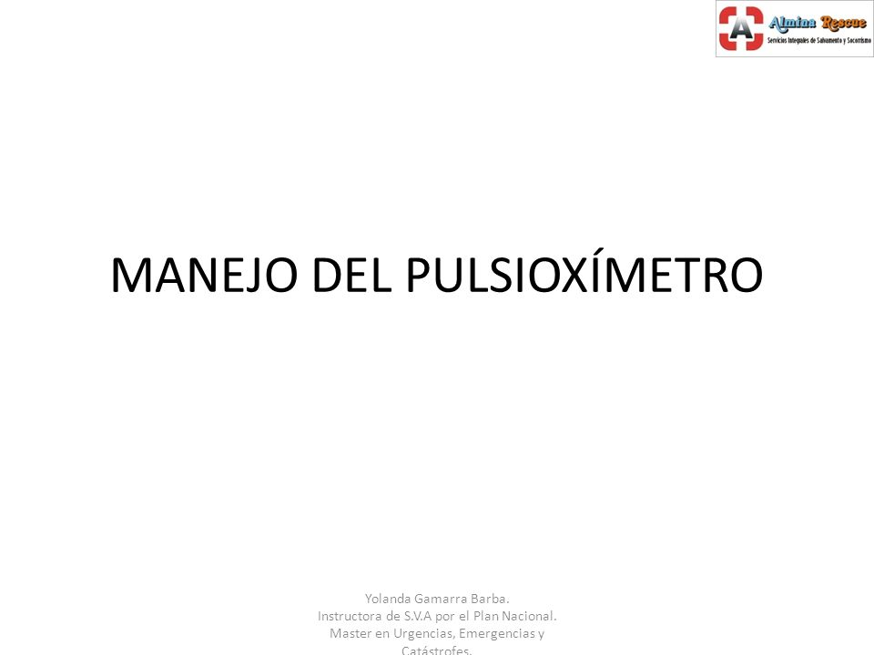 MANEJO DEL PULSIOXÍMETRO
