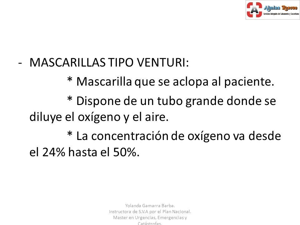 MASCARILLAS TIPO VENTURI: * Mascarilla que se aclopa al paciente.