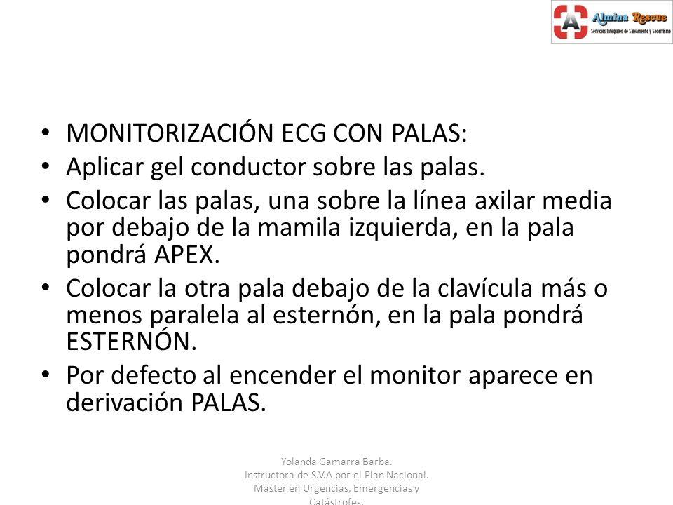 MONITORIZACIÓN ECG CON PALAS: Aplicar gel conductor sobre las palas.