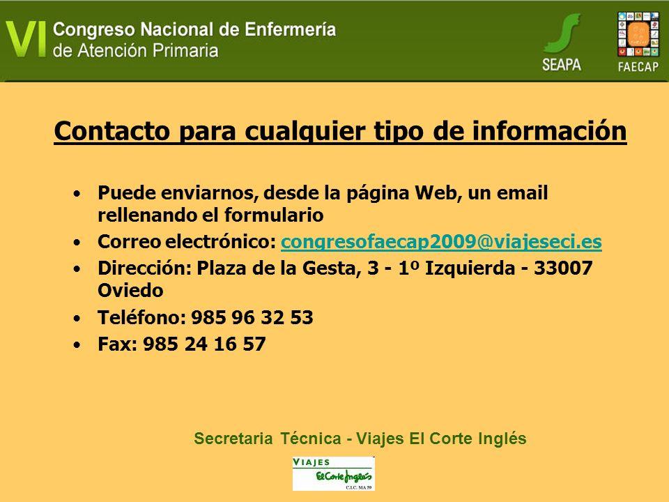 Contacto para cualquier tipo de información