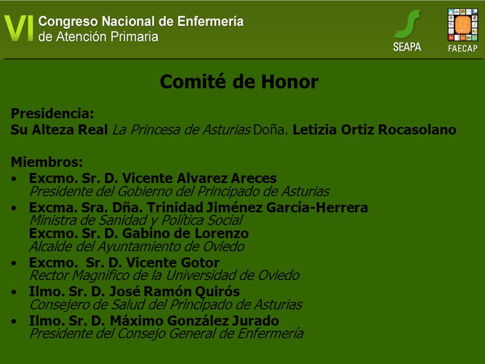 Comité de Honor Presidencia: