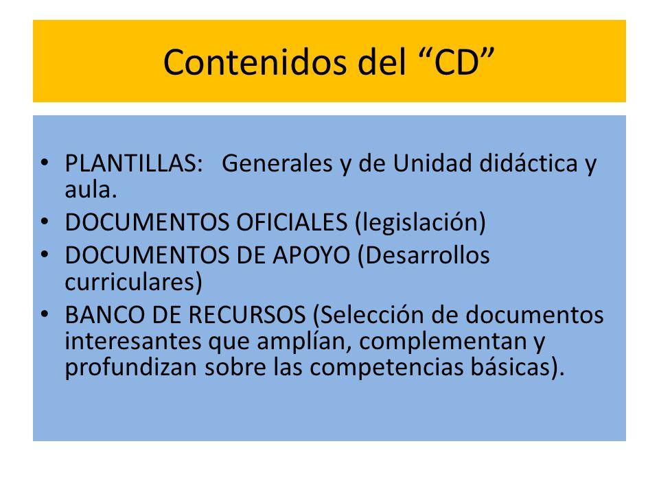 Contenidos del CD PLANTILLAS: Generales y de Unidad didáctica y aula. DOCUMENTOS OFICIALES (legislación)