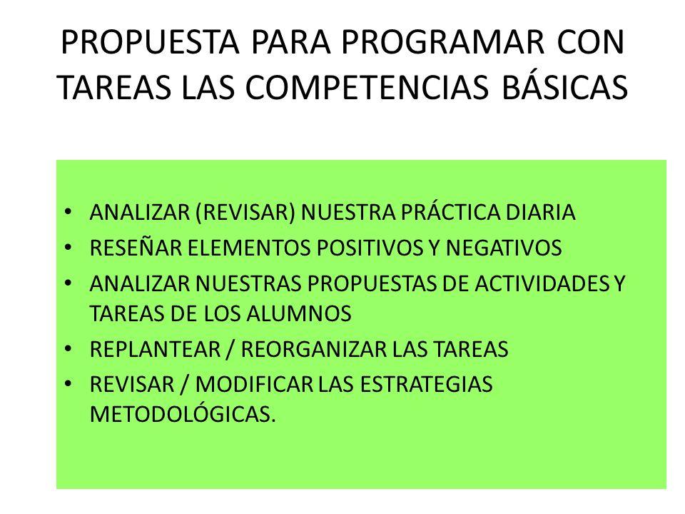 PROPUESTA PARA PROGRAMAR CON TAREAS LAS COMPETENCIAS BÁSICAS