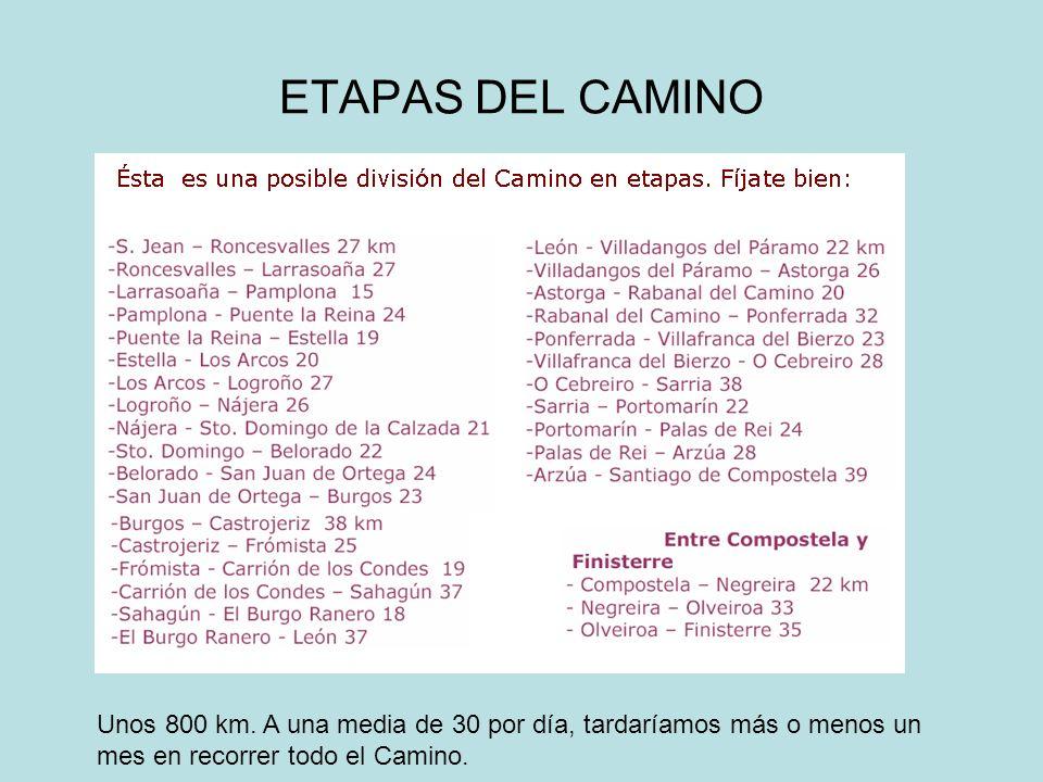 ETAPAS DEL CAMINO Unos 800 km.