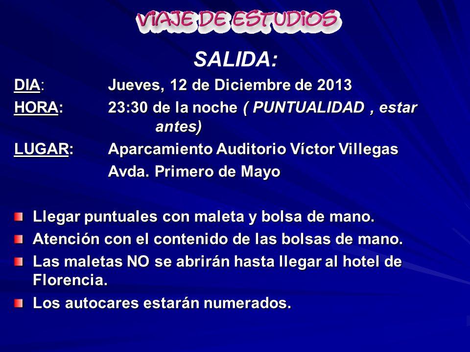 SALIDA: DIA: Jueves, 12 de Diciembre de 2013