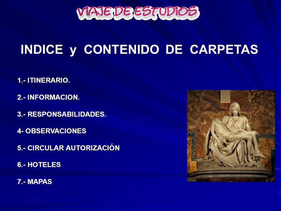 INDICE y CONTENIDO DE CARPETAS