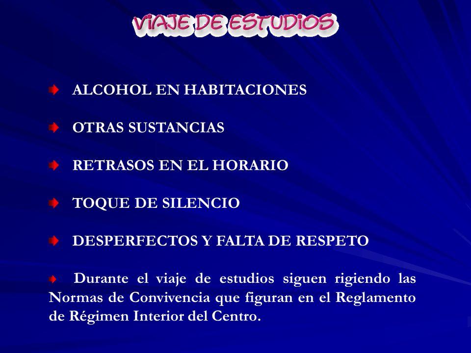 ALCOHOL EN HABITACIONES OTRAS SUSTANCIAS RETRASOS EN EL HORARIO