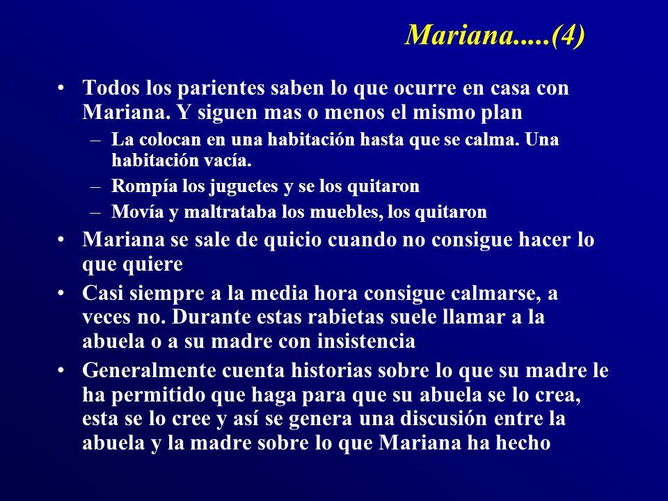 Mariana.....(4) Todos los parientes saben lo que ocurre en casa con Mariana. Y siguen mas o menos el mismo plan.