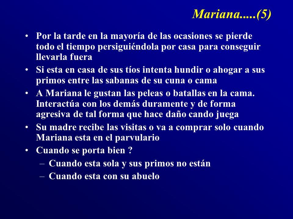 Mariana.....(5) Por la tarde en la mayoría de las ocasiones se pierde todo el tiempo persiguiéndola por casa para conseguir llevarla fuera.