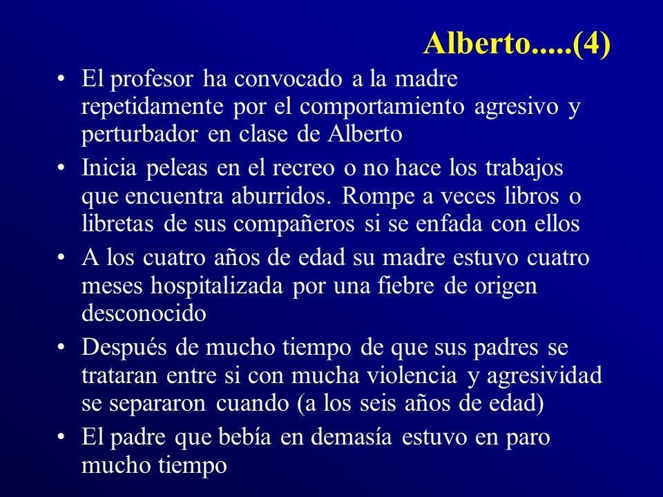 Alberto.....(4) El profesor ha convocado a la madre repetidamente por el comportamiento agresivo y perturbador en clase de Alberto.