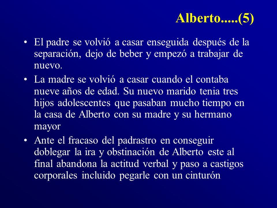 Alberto.....(5) El padre se volvió a casar enseguida después de la separación, dejo de beber y empezó a trabajar de nuevo.