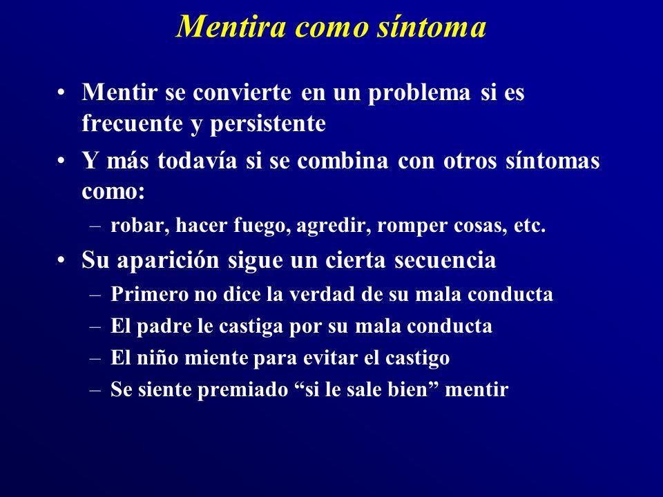 Mentira como síntoma Mentir se convierte en un problema si es frecuente y persistente. Y más todavía si se combina con otros síntomas como: