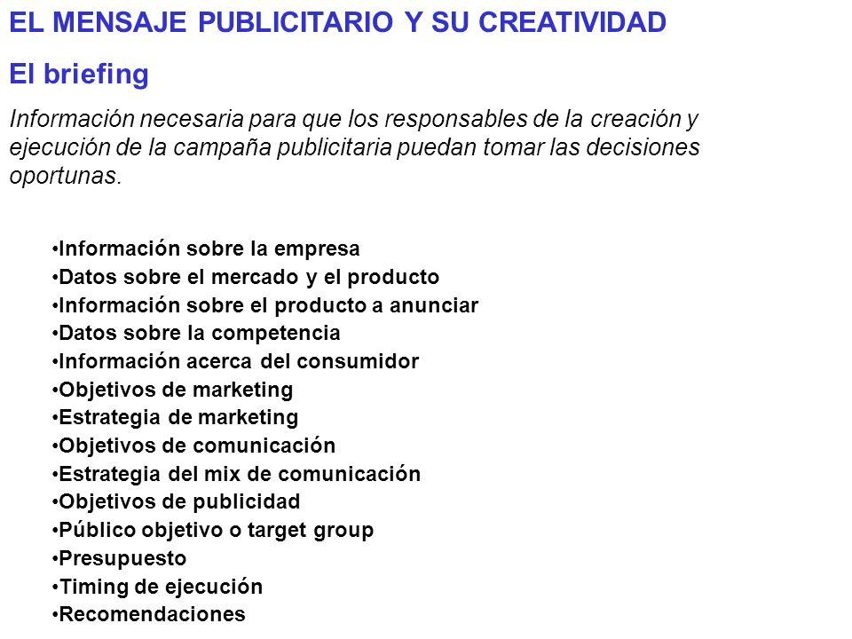 EL MENSAJE PUBLICITARIO Y SU CREATIVIDAD El briefing