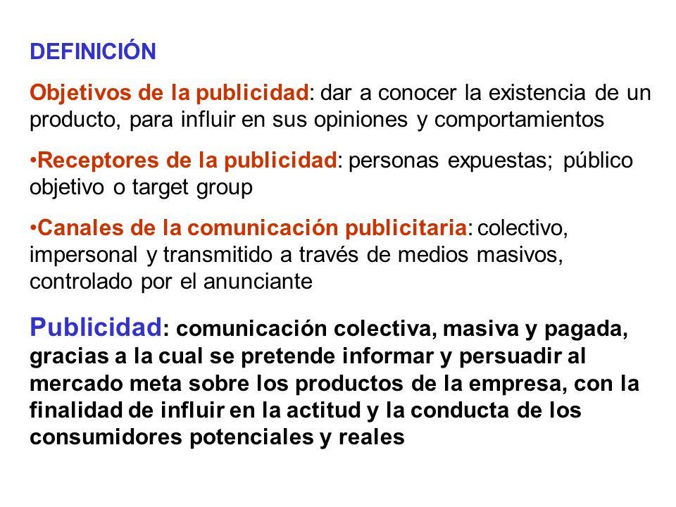 DEFINICIÓN Objetivos de la publicidad: dar a conocer la existencia de un producto, para influir en sus opiniones y comportamientos.