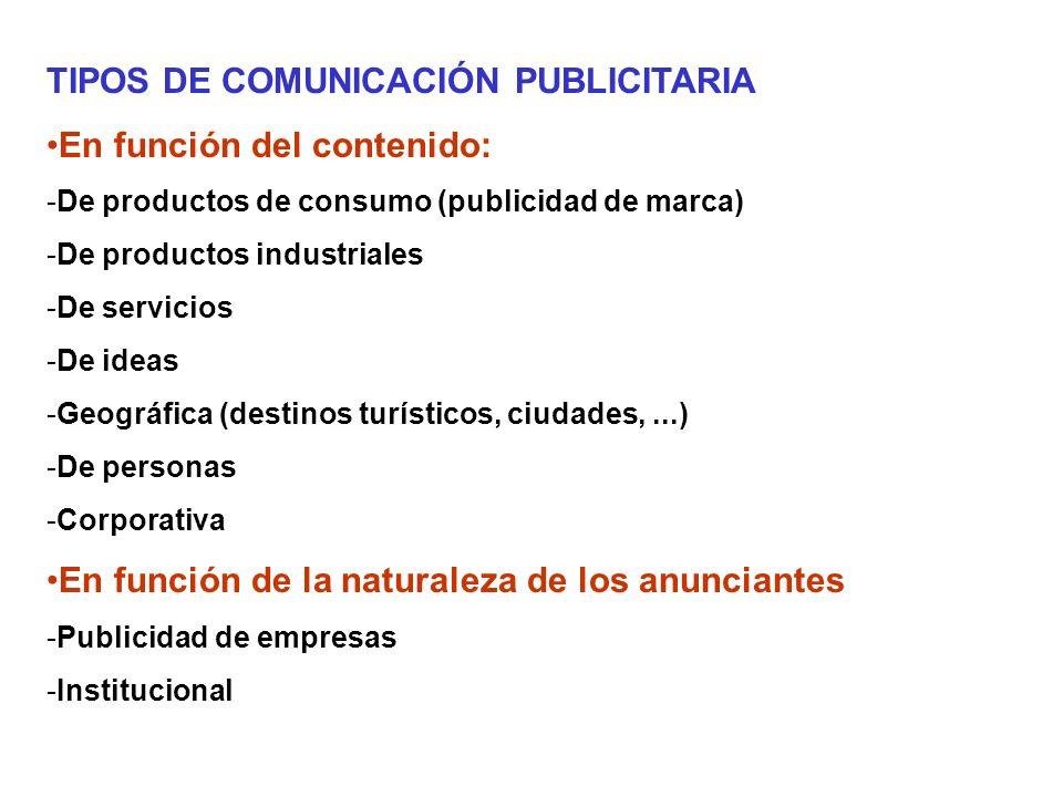 TIPOS DE COMUNICACIÓN PUBLICITARIA En función del contenido: