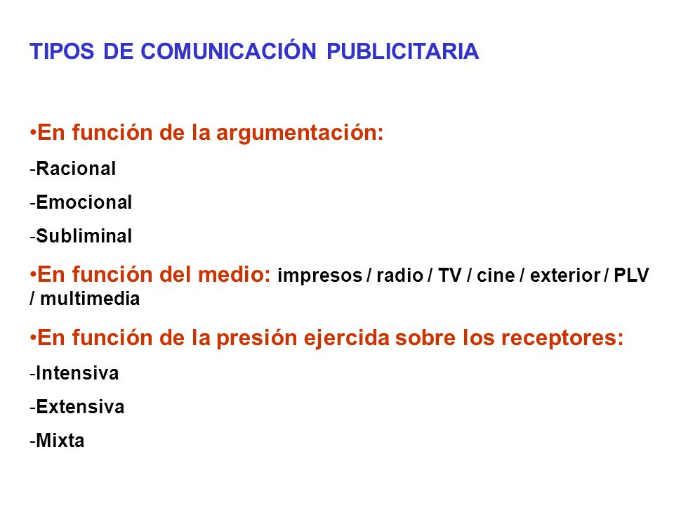 TIPOS DE COMUNICACIÓN PUBLICITARIA