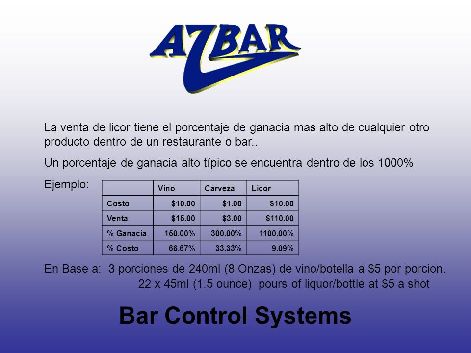 La venta de licor tiene el porcentaje de ganacia mas alto de cualquier otro producto dentro de un restaurante o bar..