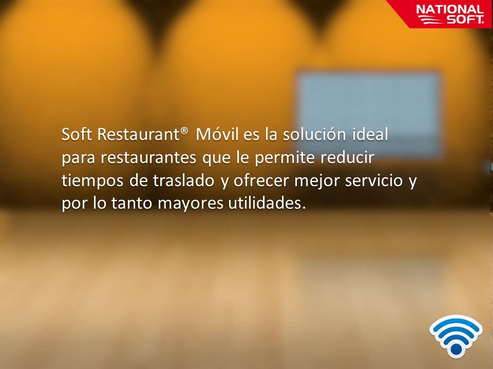 Soft Restaurant® Móvil es la solución ideal para restaurantes que le permite reducir tiempos de traslado y ofrecer mejor servicio y por lo tanto mayores utilidades.