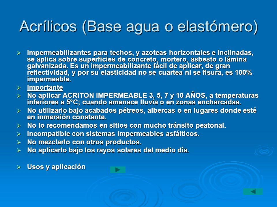 Acrílicos (Base agua o elastómero)