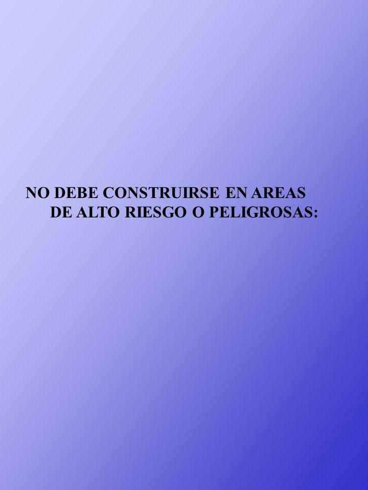 NO DEBE CONSTRUIRSE EN AREAS DE ALTO RIESGO O PELIGROSAS: