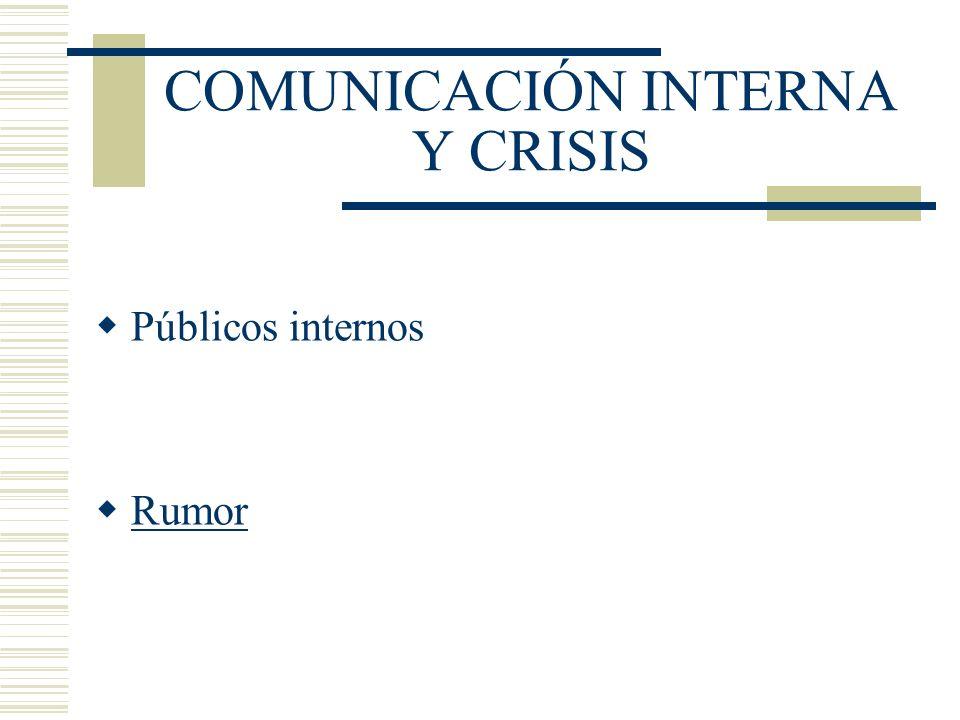 COMUNICACIÓN INTERNA Y CRISIS