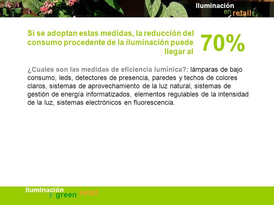 Iluminación en. retail. Si se adoptan estas medidas, la reducción del consumo procedente de la iluminación puede llegar al.