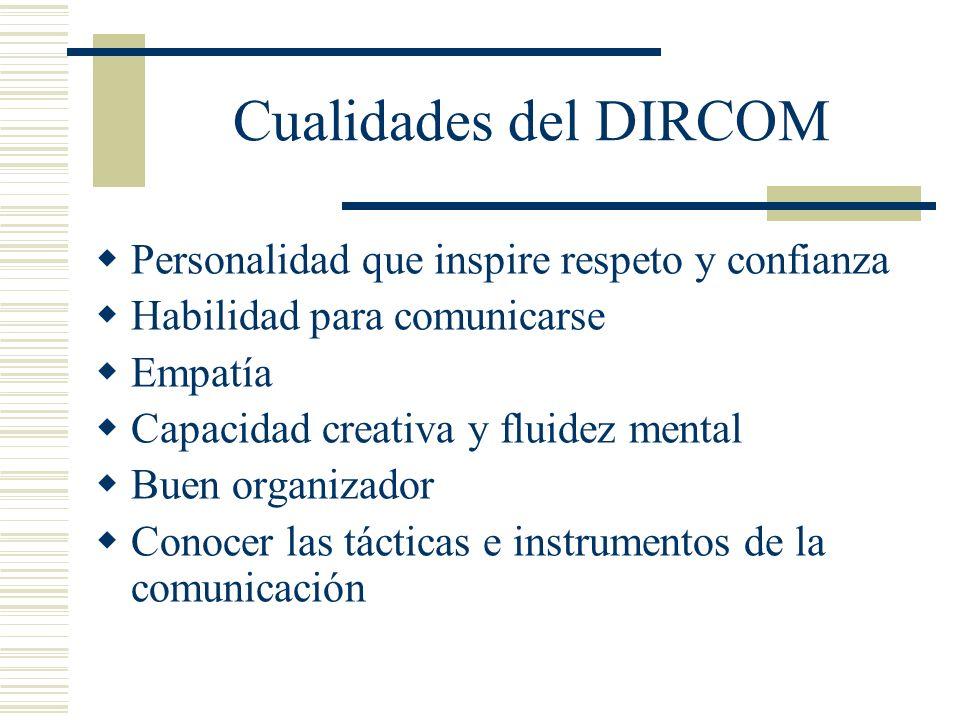 Cualidades del DIRCOM Personalidad que inspire respeto y confianza