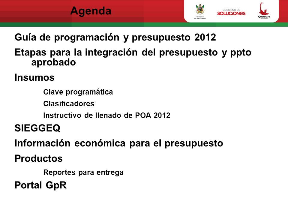 Agenda Guía de programación y presupuesto 2012
