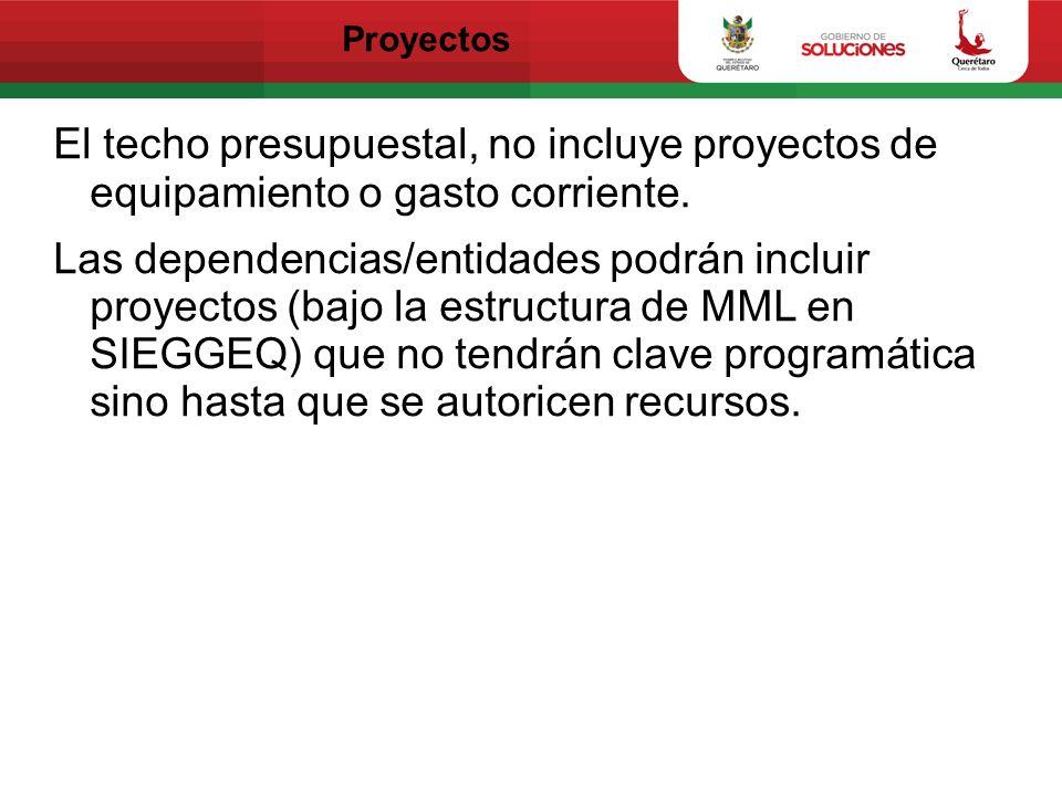 Proyectos El techo presupuestal, no incluye proyectos de equipamiento o gasto corriente.