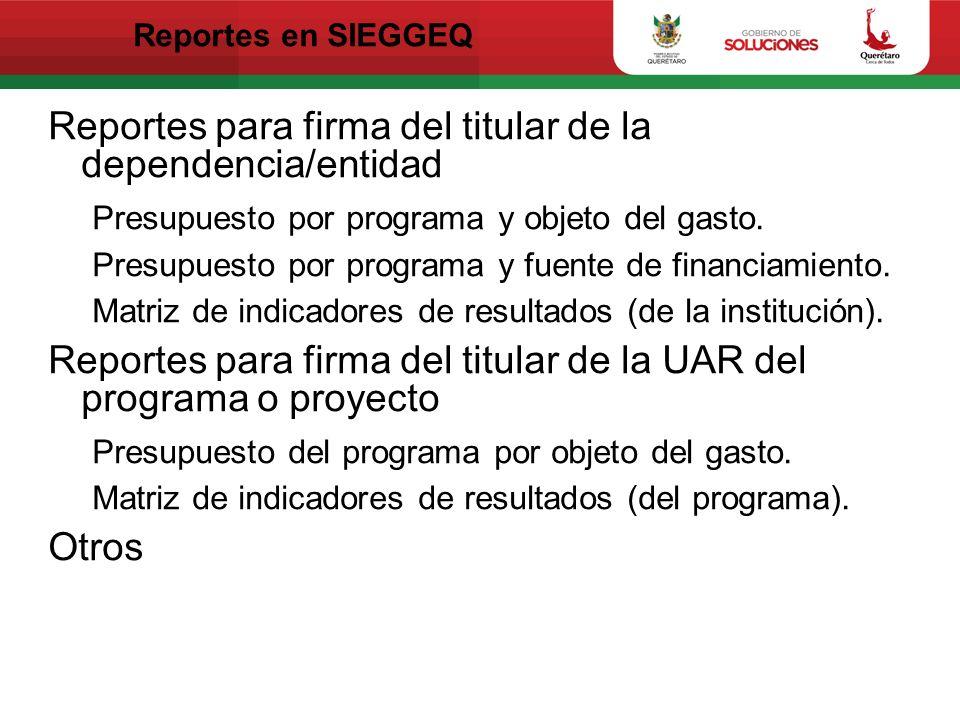 Reportes para firma del titular de la dependencia/entidad