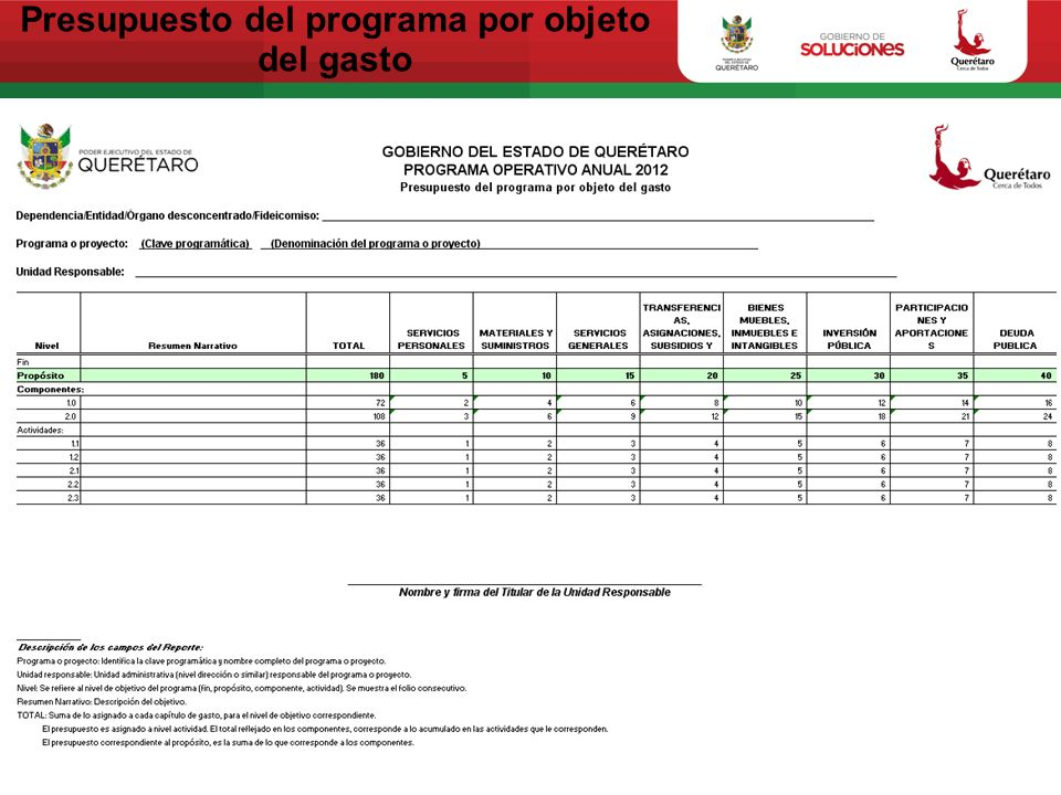 Presupuesto del programa por objeto del gasto