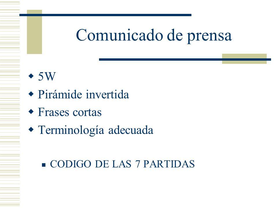 Comunicado de prensa 5W Pirámide invertida Frases cortas